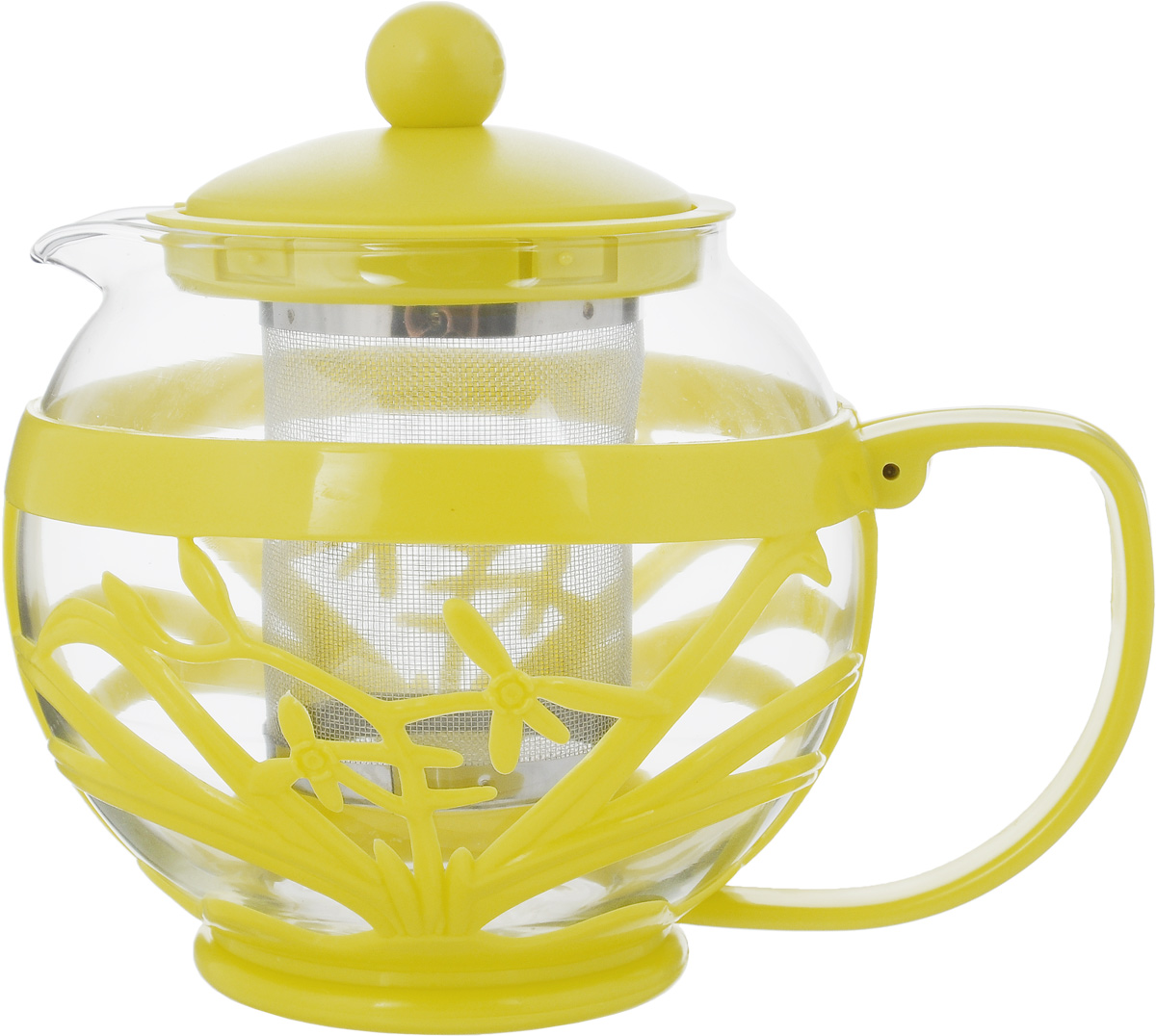 Чайник заварочный Menu Мелисса, с фильтром, цвет: прозрачный, желтый, 750 млMLS-75_прозрачный, желтыйЧайник Menu Мелисса изготовлен из прочного стекла и пластика. Он прекрасно подойдет для заваривания чая и травяных напитков. Классический стиль и оптимальный объем делают его удобным и оригинальным аксессуаром. Изделие имеет удлиненный металлический фильтр, который обеспечивает высокое качество фильтрации напитка и позволяет заварить чай даже при небольшом уровне воды. Ручка чайника не нагревается и обеспечивает безопасность использования. Нельзя мыть в посудомоечной машине. Диаметр чайника (по верхнему краю): 8 см.Высота чайника (без учета крышки): 11 см.Размер фильтра: 6 х 6 х 7,2 см.