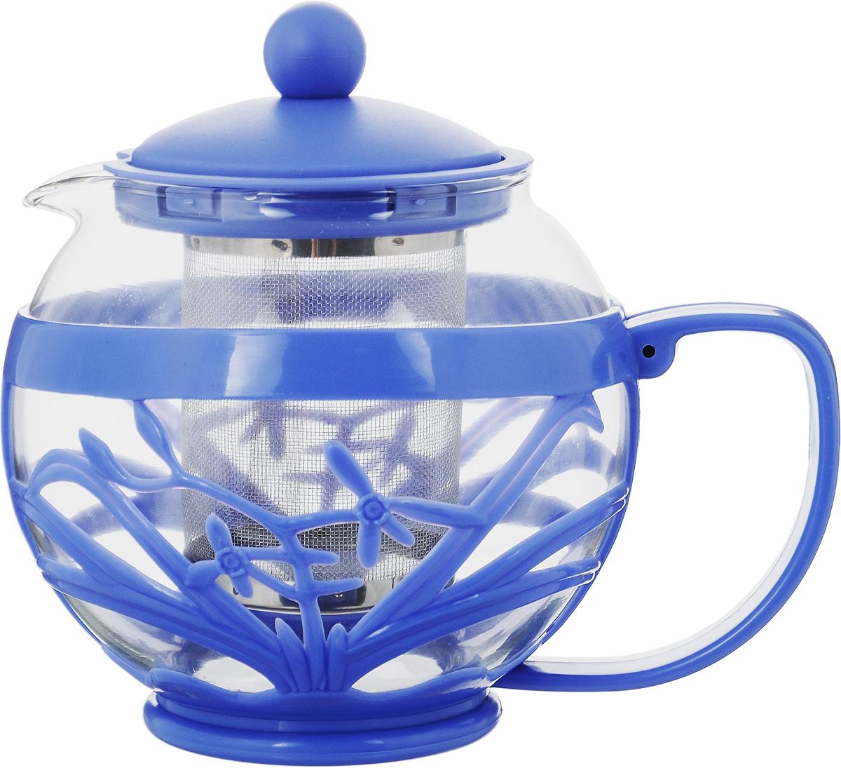 Чайник заварочный Menu Мелисса, с фильтром, цвет: прозрачный, синий, 750 млMLS-75_прозрачный, синийЧайник Menu Мелисса изготовлен из прочного стекла и пластика. Он прекрасно подойдет для заваривания чая и травяных напитков. Классический стиль и оптимальный объем делают его удобным и оригинальным аксессуаром. Изделие имеет удлиненный металлический фильтр, который обеспечивает высокое качество фильтрации напитка и позволяет заварить чай даже при небольшом уровне воды. Ручка чайника не нагревается и обеспечивает безопасность использования. Нельзя мыть в посудомоечной машине. Диаметр чайника (по верхнему краю): 8 см.Высота чайника (без учета крышки): 11 см.Размер фильтра: 6 х 6 х 7,2 см.