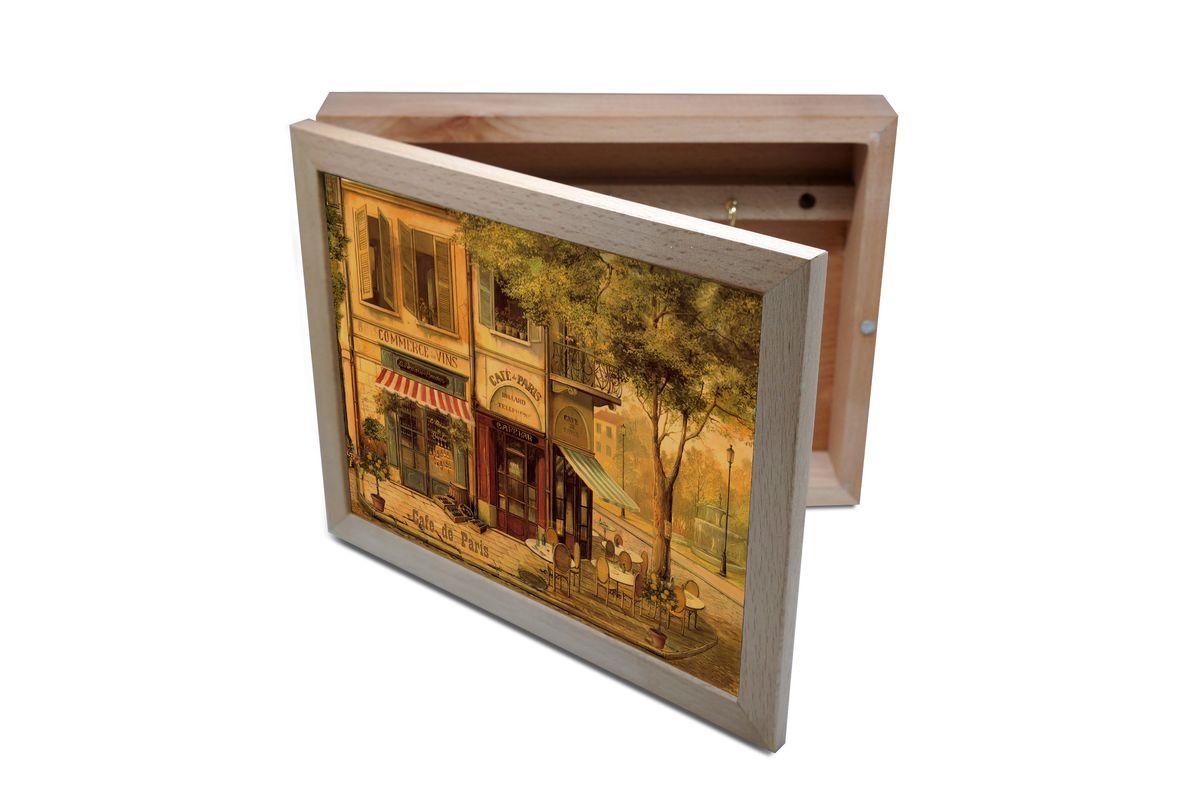 Ключница GiftnHome Парижское кафе, 20 х 25 смKbox-CafeВпустив в свой Дом однажды, вы почувствуете, что этот аксессуар навсегда заполнит Ваше сердце благодарностью!Теперь Вы и вся Ваша семья - всегда будете знать, где находится нужный ключ! Вам больше не нужно метаться по квартире в поисках потерянного золотого ключика или целой связки. А когда семья большая - это буквально спасательный волшебный ларец, способный элементарно организовать в одном месте самые важные ключи всех жильцов Вашего семейства. Ключница, оформленная современными модными принтами от Креативной студии АнтониоК - помимо практичности и удобства внесет оригинальный стиль и послужит прекрасным интерьерным решением в прихожей Вашего дома, дачи, офиса или студии.Товары бренда GiftnHome, серии Эко-Лайф выполнены из благородных пород дерева: бука и дуба. Они несут в дом тепло, уют и неповторимый индивидуальный стиль. Эти изделия не боятся повседневной эксплуатации и будут Вам служить долго и преданно.