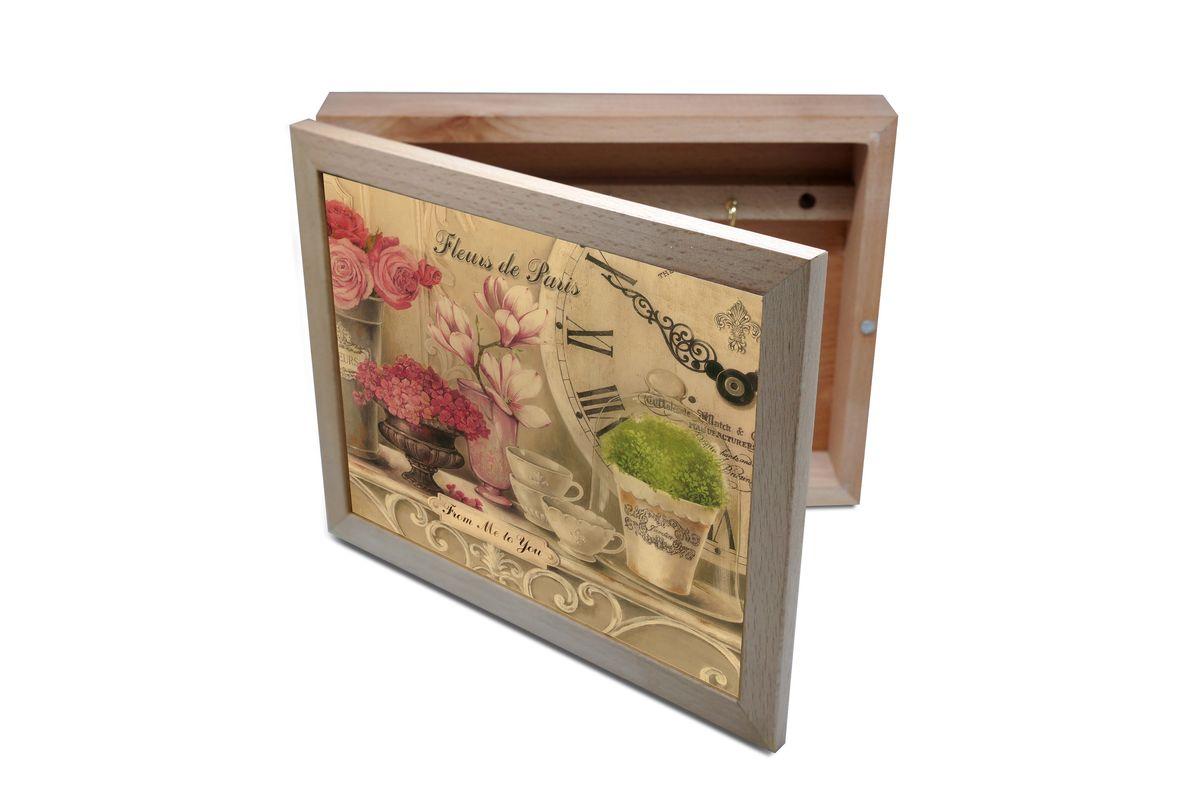 Ключница GiftnHome Парижские цветы, 20 х 25 смKbox-FleursВпустив в свой Дом однажды, вы почувствуете, что этот аксессуар навсегда заполнит Ваше сердце благодарностью!Теперь Вы и вся Ваша семья - всегда будете знать, где находится нужный ключ! Вам больше не нужно метаться по квартире в поисках потерянного золотого ключика или целой связки. А когда семья большая - это буквально спасательный волшебный ларец, способный элементарно организовать в одном месте самые важные ключи всех жильцов Вашего семейства. Ключница, оформленная современными модными принтами от Креативной студии АнтониоК - помимо практичности и удобства внесет оригинальный стиль и послужит прекрасным интерьерным решением в прихожей Вашего дома, дачи, офиса или студии.Товары бренда GiftnHome, серии Эко-Лайф выполнены из благородных пород дерева: бука и дуба. Они несут в дом тепло, уют и неповторимый индивидуальный стиль. Эти изделия не боятся повседневной эксплуатации и будут Вам служить долго и преданно.