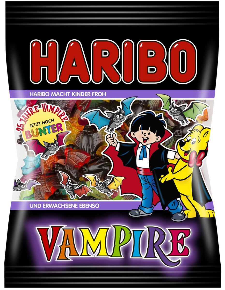Haribo Vampire жевательный мармелад, 200 г20220А сейчас будет страшно! Страшно вкусно!Вампиры от Haribo - это интересное сочетание пряной лакрицы и фруктового жевательного мармелада. А теперь в новой, еще более красочной упаковке и новыми потрясающими вкусами: апельсин, лимон, яблоко, клубника, малина, черника!