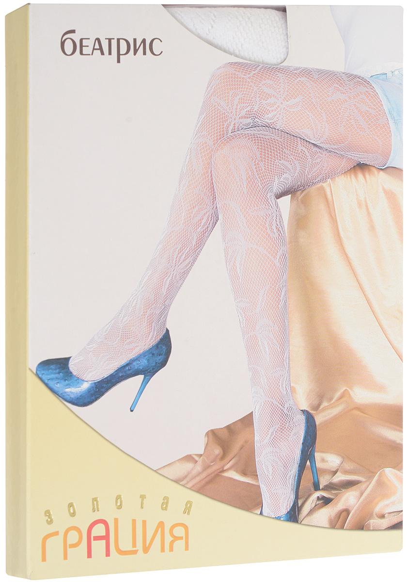 Колготки женские Золотая Грация Беатрис, цвет: белый. Размер 3/4 (44/46)БеатрисЭлегантные колготки Золотая Грация Беатрис выполнены из мультифибры по уникальной бесшовной технологии. Модель в сеточку с ажурным цветочным рисунком. Хлопковая ластовица обеспечивает дополнительный комфорт. Эластичная резинка на поясе плотно облегает талию.