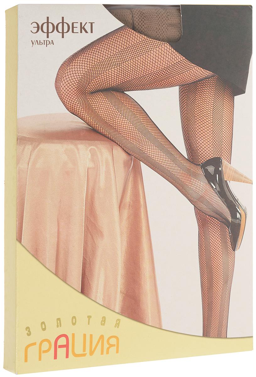Колготки женские Золотая Грация Эффект ультра, цвет: загар. Размер 1/2 (40/42)Эффект ультраМодные фантазийные колготки в сеточку с вертикальными полосами, визуально удлиняющими ноги. Изготовлены по бесшовной технологии, с ластовицей. Эластичная резинка на поясе плотно облегает талию, обеспечивая комфорт и удобство.