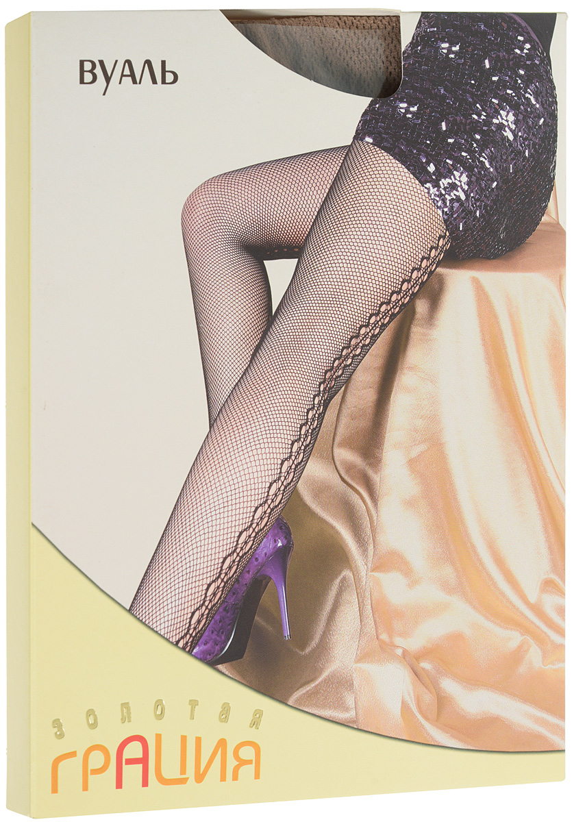 Колготки женские Золотая Грация Вуаль, цвет: загар. Размер 1/2 (40/42)ВуальУльтрамодные фантазийные колготки в сеточку с вертикальным ажурным задним швом. Выполнены по бесшовной технологии, с хлопковой ластовицей и усиленным мыском. Эластичная резинка на поясе плотно облегает талию, обеспечивая комфорт и удобство.