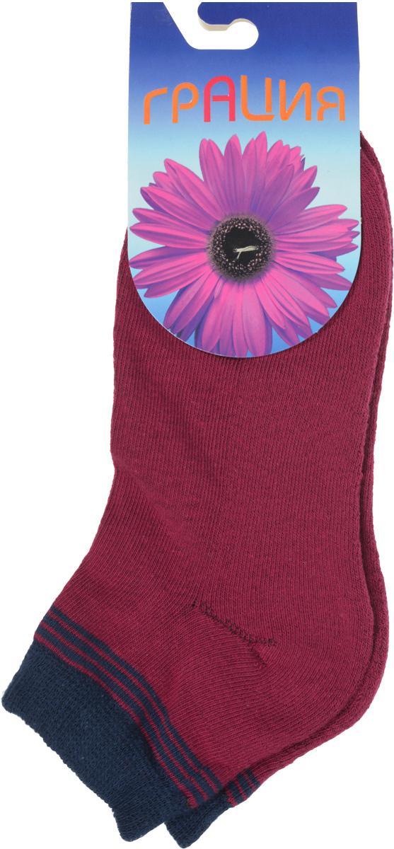 Носки женские Грация, цвет: бордовый, темно-синий. H 050. Размер 2 (38/40)H 050Теплые женские носки Грация, изготовленные из высококачественного комбинированного материала, очень мягкие и приятные на ощупь, позволяют коже дышать. Эластичная резинка плотно облегает ногу, не сдавливая ее, обеспечивая комфорт и удобство. Внутренняя часть стопы махровая. Носки с укороченным паголенком, который оформлен нежным принтом в полоску.Удобные и комфортные носки великолепно подойдут к любой вашей обуви.