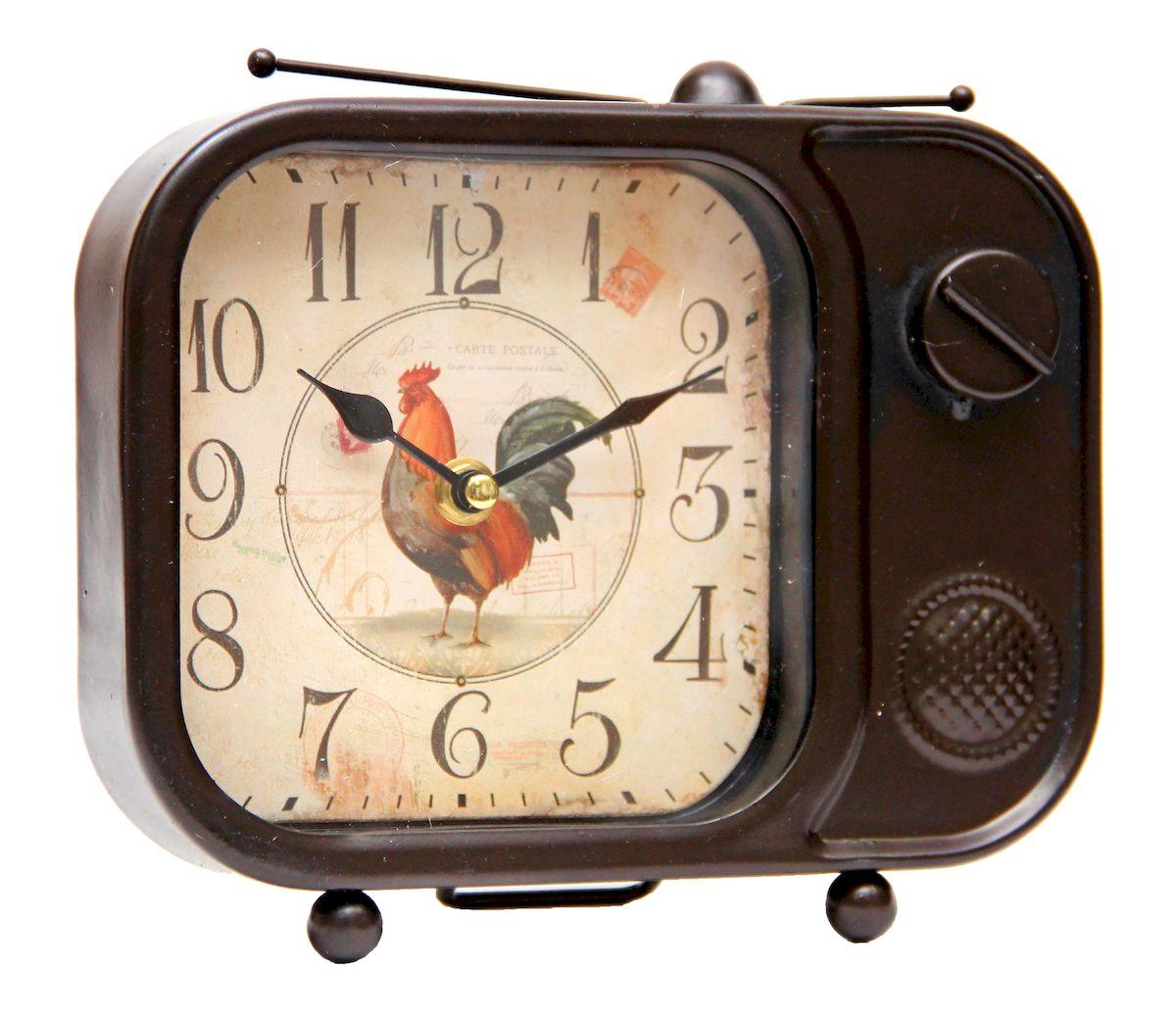 Часы настольные Magic Home Телевизор, кварцевые, цвет: коричневый телевизор телефункен