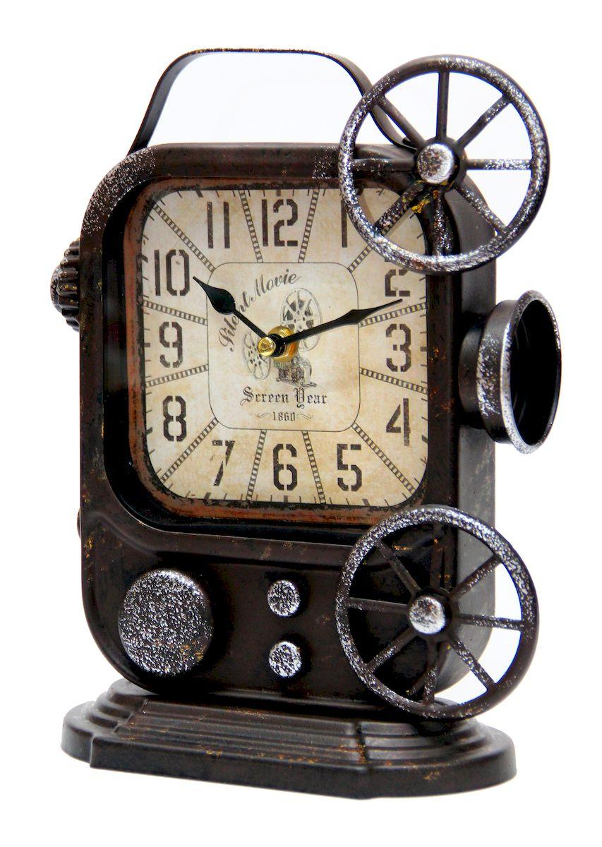 Часы настольные Magic Home Ретро Камера, кварцевые, цвет: черный41495Настольные кварцевые часы Magic Home Ретро Камера изготовлены из металла черного цвета, циферблат из черного металла с покрытием из принтованной бумаги. Настольные часы Magic Home Ретро Камера прекрасно оформят интерьер дома или рабочий стол в офисе.Часы работают от одной батарейки типа АА мощностью 1,5V (не входит в комплект).