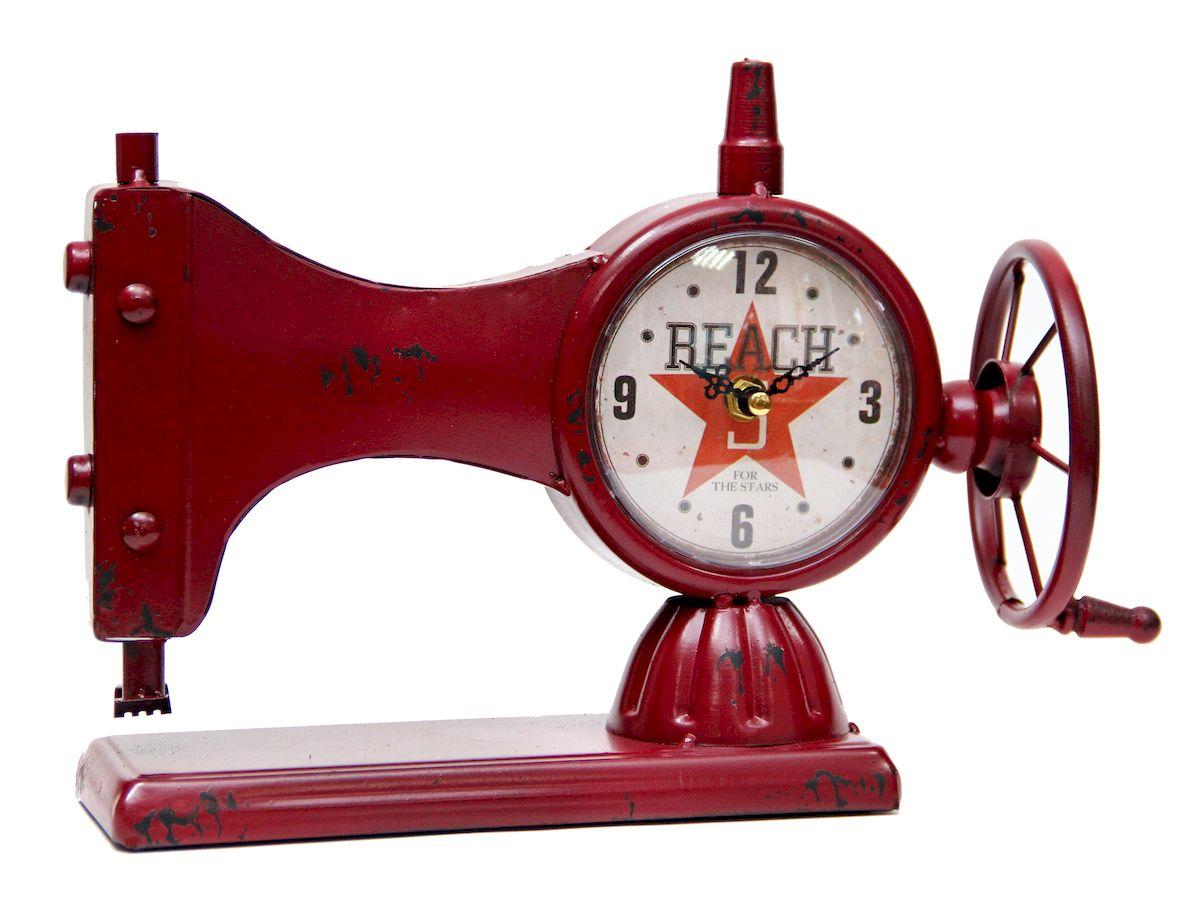 Часы настольные Magic Home Швейная Машинка, кварцевые, цвет: красный41496Настольные кварцевые часы Magic Home Швейная Машинка изготовлены из металла,циферблат с покрытием из принтованной бумаги. Настольные часы Magic Home Швейная Машинка прекрасно оформят интерьер дома или рабочий стол вофисе. Часы работают от одной батарейки типа АА мощностью 1,5V (не входит в комплект).