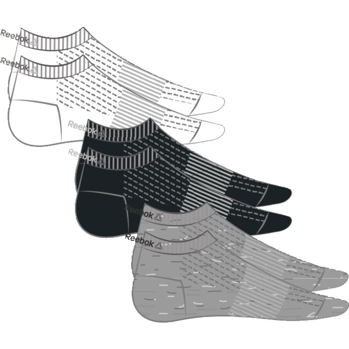 Носки Reebok Se U Inside Sock, 3 пары, цвет: черный, белый, серый. AJ6240. Размер 35/38AJ6240Носки отлично сидят на ноге и эффективно отводят лишнюю влагу. Идеальный вариант как для тренировки, так и для повседневной носки. Дополнительная поддержка свода стопы гарантирует надежную посадку по ноге. Низкий дизайн не стесняет движений. Отлично сидят на ноге благодаря манжетам в рубчик и дополнительной поддержке свода стопы. Сетчатые вставки обеспечивают вентиляцию. Три пары в упаковке.
