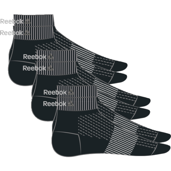 Носки Reebok Se U Ank Sock, 3 пары, цвет: черный. AJ6249. Размер 39/43 носки reebok se u ank sock 3p цвет белый 3 пары aj6248 размер 35 38