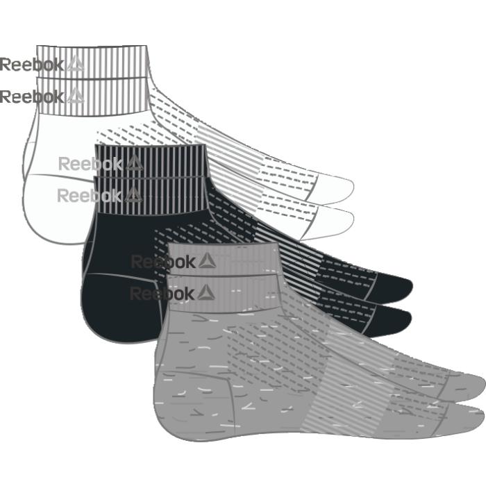 Носки Reebok Se U Ank Sock, 3 пары, цвет: черный, белый, серый. AJ6250. Размер 43/46AJ6250Носки отлично сидят на ноге и эффективно отводят лишнюю влагу. Идеальный вариант как для тренировки, так и для повседневной носки. Дополнительная поддержка свода стопы гарантирует надежную посадку по ноге. Длина по щиколотку обеспечивает амортизацию. Отлично сидят на ноге благодаря манжетам в рубчик и дополнительной поддержке свода стопы. Сетчатые вставки обеспечивают вентиляцию. Жаккардовый логотип Reebok контрастной расцветки. Три пары в упаковке.