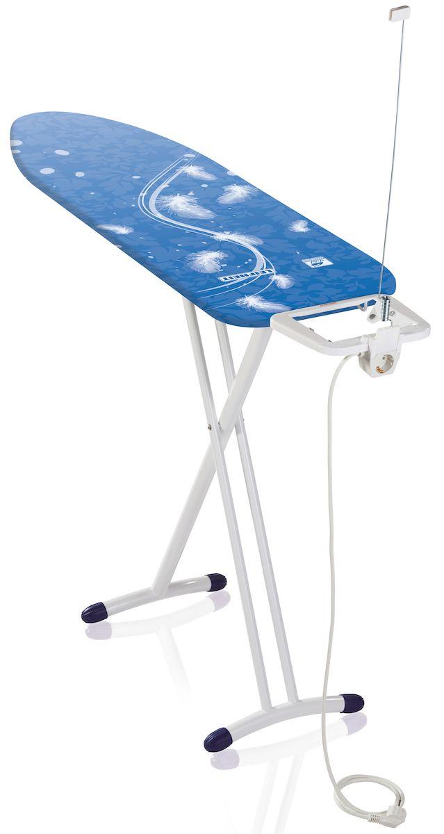 Доска гладильная Leifheit Airboard Premium M Plus, с электроподключением, цвет: белый, голубой, 120 х 38 см72564Гладильная доска Leifheit Airboard Premium M Plus станет незаменимой помощницей в глажении белья. Очень существенная особенность - это ее легкий вес, доска на 25% легче аналогичных досок благодаря гладильной поверхности из вспененного пластика. Поверхность Thermoreflect позволяет гладить на 33% быстрее. Благодаря отражающей поверхности белье гладится сразу с двух сторон. Доска имеет фиксированную подставку для утюга с электроподключением и держателем для кабеля.На ножках имеются пластиковые накладки, не царапающие пол, а также система выравнивания пола - для перепада высоты до 1 см. Новый механизм регулировки высоты, обеспечивающий большую безопасность и устойчивость.Размер рабочей поверхности: 120 х 38 см.Регулировка по высоте: 75-98 см.