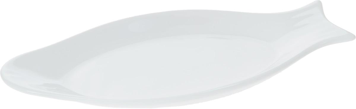 """Оригинальное блюдо Wilmax """"Рыбка"""", изготовленное из фарфора с глазурованным покрытием, прекрасно подойдет для подачи нарезок, закусок и других блюд. Оно украсит ваш кухонный стол, а также станет замечательным подарком к любому празднику.Размер блюда: 22 х 10,6 см."""