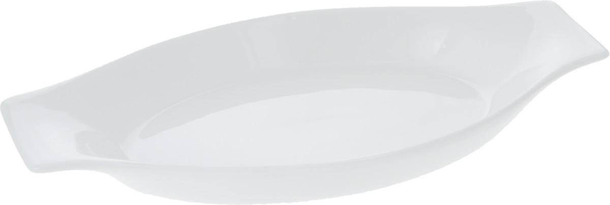"""Форма для запекания """"Wilmax"""" выполнена из белого фарфора высокого качества с глазурованным покрытием и оснащена небольшими ручками.Фарфор от """"Wilmax"""" изготовлен по уникальному рецепту из сплава магния и алюминия, благодаря чему посуда обладает характерной белизной, прочностью и устойчивостью к сколами. Особый состав глазури обеспечивает гладкость и блеск поверхности изделия.Приятный глазу дизайн и отменное качество формы будут долго радовать вас.   Можно мыть в посудомоечной машине и использовать в микроволновой печи. Форма пригодна для использования в духовых печах и выдерживает температуру до 300°С.  Размер формы (без учета ручек): 20 х 13,5 х 3 см. Длина формы (с учетом ручек): 25,5 см."""