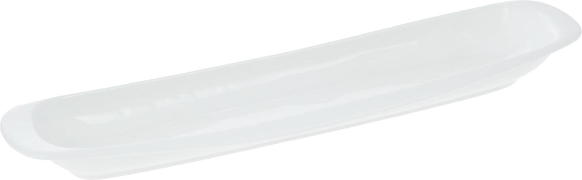 Блюдо Wilmax, 32,5 х 8,5 смWL-992644 / AОригинальное блюдо Wilmax, изготовленное из фарфора с глазурованным покрытием, прекрасноподойдет для подачи нарезок, закусок и других блюд. Фарфор от Wilmax изготовлен по уникальному рецепту из сплава магния и алюминия, благодаря чему посуда обладает характерной белизной, прочностью и устойчивостью к сколами. Особый состав глазури обеспечивает гладкость и блеск поверхности изделия.Оно украсит ваш кухонный стол, а также станет замечательным подарком к любому празднику.Можно мыть в посудомоечной машине и использовать в микроволновой печи. Изделие пригодно для использования в духовых печах и выдерживает температуру до 300°С.