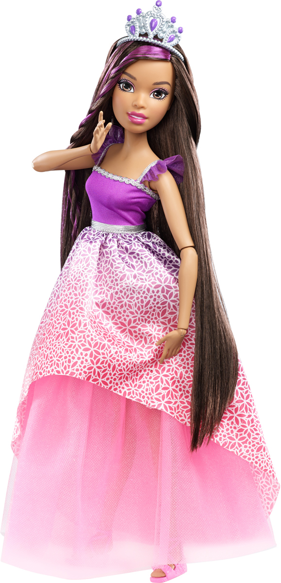 Barbie Кукла Роскошные волосы цвет платья фиолетовый розовый