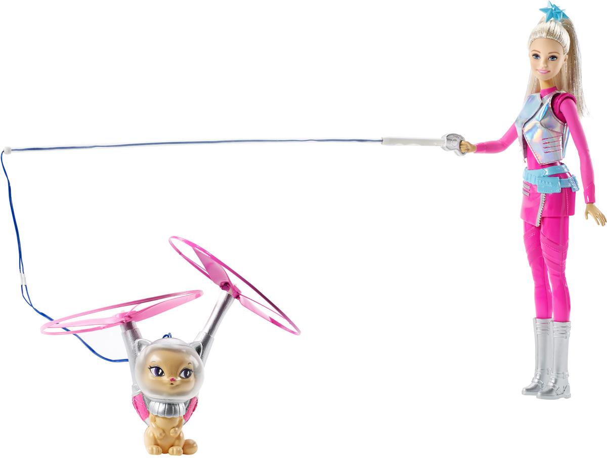 Barbie Игровой набор с куклой Барби и летающий кот Попкорн куклы barbie игровой набор звездные приключения барби с летающим котом попкорн