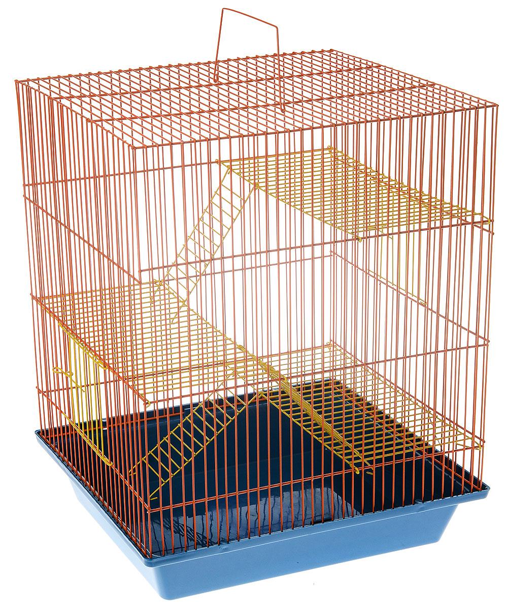 Клетка для грызунов ЗооМарк Гризли, 4-этажная, цвет: синий поддон, оранжевая решетка, желтые этажи, 41 х 30 х 50 см. 240ж240ж_синий, оранжевыйКлетка ЗооМарк Гризли, выполненная из полипропилена и металла, подходит для мелких грызунов. Изделие четырехэтажное. Клетка имеет яркий поддон, удобна в использовании и легко чистится. Сверху имеется ручка для переноски.Такая клетка станет уединенным личным пространством и уютным домиком для маленького грызуна.