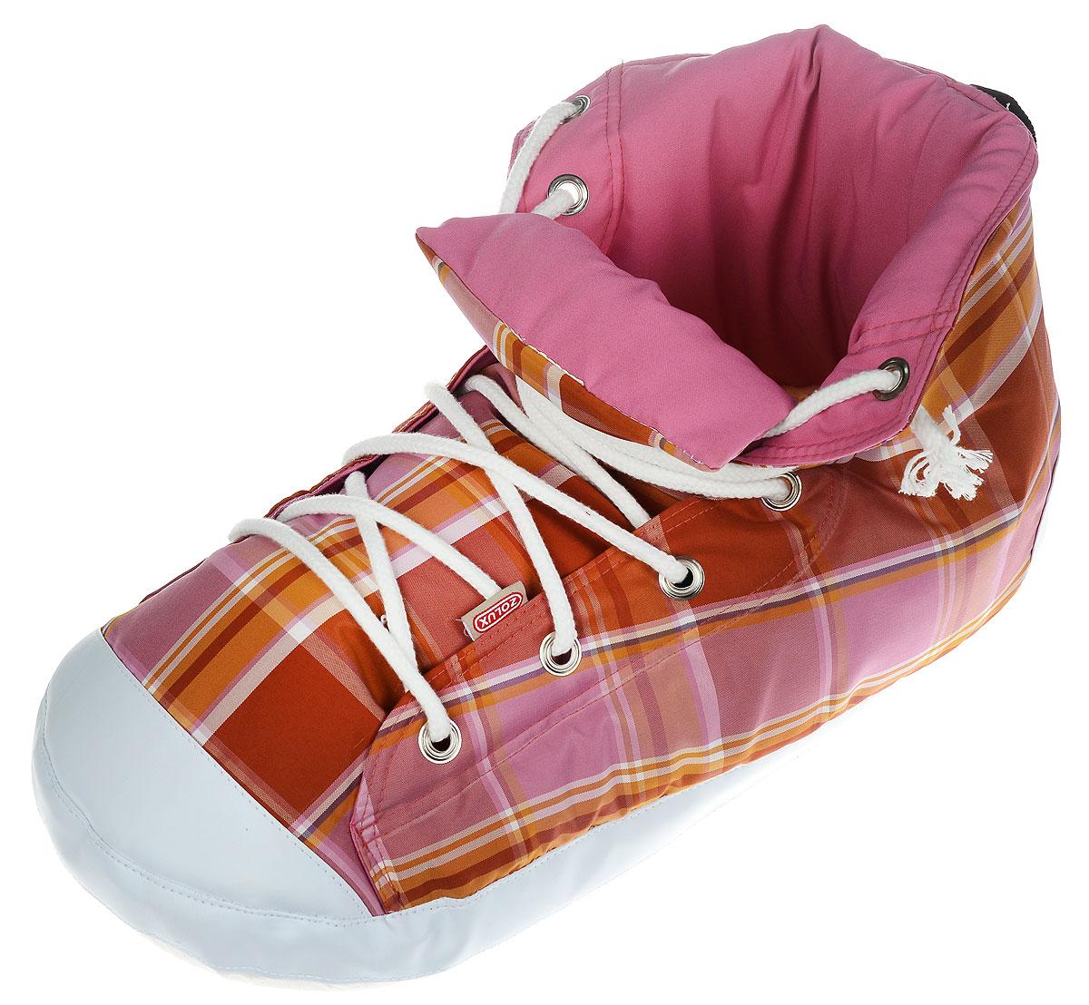 Лежанка-тапок для кошек Zolux, цвет: розовый, коричнево-желтый, белый, 54 х 25 х 27 см3336025002154 / 500215OSЛежанка-тапок Zolux станет лучшим подарком для вашего любимца. Изделие выполнено из хлопчатобумажной ткани, а наполнитель - мягкий синтепон. Шуршащая стенка надолго привлечет внимание кошки и обеспечит интересным времяпровождением. Съемная подстилка позволяет легко содержать лежанку в чистоте.В таком лежаке в виде ботинка вашему питомцу будет комфортно и уютно, животное всегда найдет там укрытие и сможет спрятаться. С помощью специальной петли изделие можно подвесить.