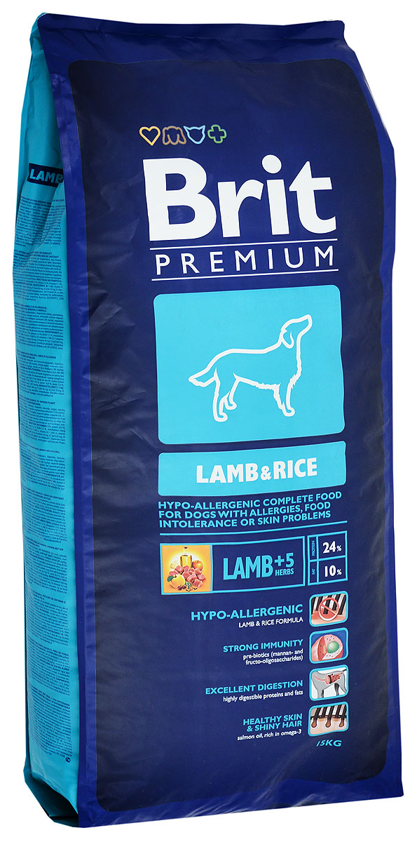 Корм сухой Brit Premium для собак с чувствительным пищеварением, гипоаллергенный, с ягненком и рисом, 15 кг8594031449461Сухой корм Brit Premium - полнорационное сбалансированное питание со вкусом ягненка и риса. Корм предназначен для собак всех пород с чувствительным пищеварением, склонных к пищевой аллергии и проблемами кожи. Специально разработанный состав улучшает баланс микрофлоры кишечника.Товар сертифицирован.Расстройства пищеварения у собак: кто виноват и что делать. Статья OZON ГидЧем кормить пожилых собак: советы ветеринара. Статья OZON Гид