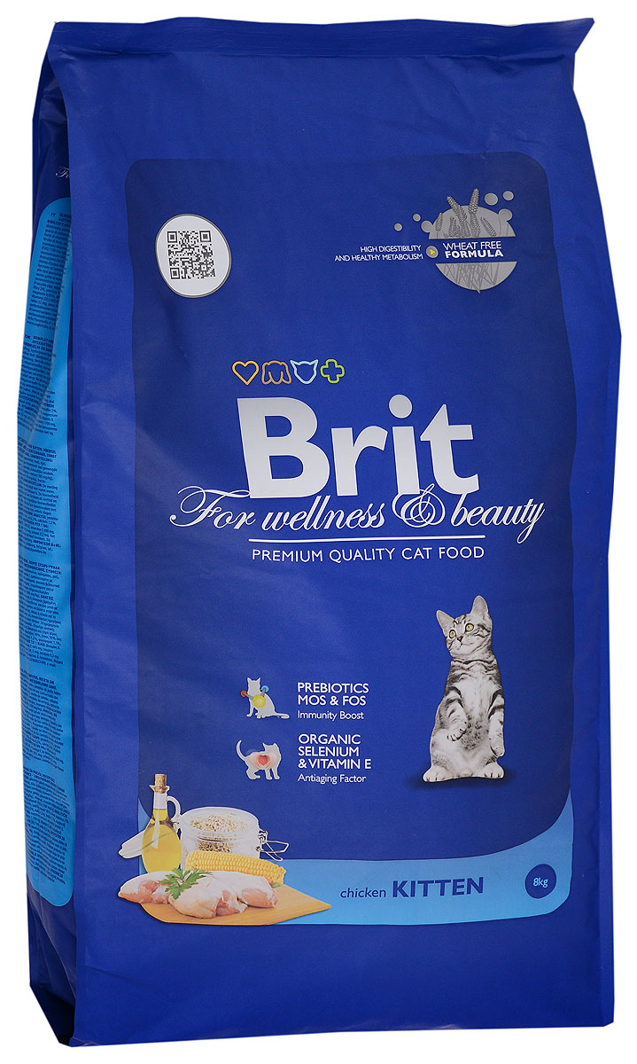 Корм сухой Brit Premium для котят, беременных и кормящих кошек, с курицей, 8 кг8594031445326Полноценный сбалансированный корм Brit Premiumпредназначен для котят от 1 месяца до 1 года, также рекомендуется для беременных и кормящих кошек всех пород. Он не содержит пшеницы, что обеспечивает максимальное снижение пищевой аллергии. Содержание пребиотиков MOS и FOS повышает иммунитет и поддерживает здоровую микрофлору кишечника. Органический селен и витамин Е замедляют процессы старения.Аналитический состав на 1 кг: белок 39%, жир 18%, клетчатка 2%, влажность 10%, зола 6,5%, кальций 1,5%, фосфор 1,1%, магний 0,05%.Пищевые добавки на 1 кг: витамин А 30000 МЕ, витамин D3 2000 МЕ, витамин Е (альфа-токоферол) 600 мг, таурин 1700 мг, медь 22 мг, цинк 39,5 мг, селен 0,3 мг.Энергетическая ценность: 4356 ккал.Товар сертифицирован.Уважаемые клиенты! Обращаем ваше внимание на то, что упаковка может иметь несколько видов дизайна. Поставка осуществляется в зависимости от наличия на складе.