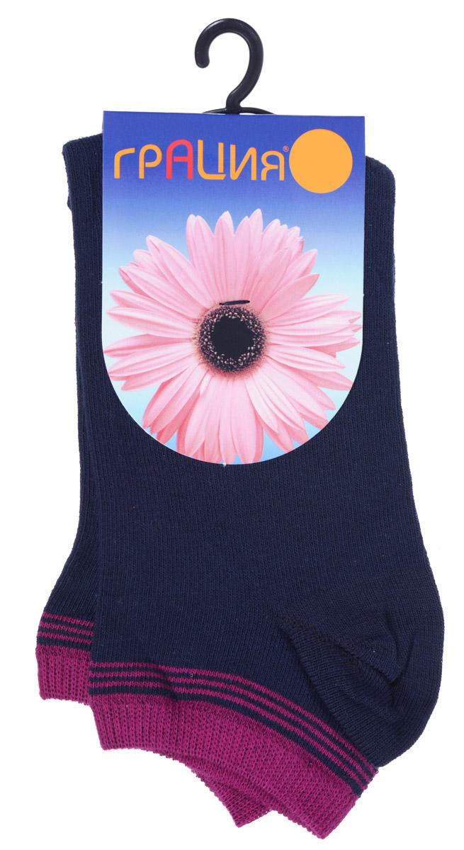 Носки женские Грация, цвет: темно-синий, фуксия. H 001. Размер 1 (35/37)H 001Удобные женские носки Грация, изготовленные из высококачественного комбинированного материала, очень мягкие и приятные на ощупь, позволяют коже дышать. Эластичная резинка плотно облегает ногу, не сдавливая ее, обеспечивая комфорт и удобство. Носки с укороченным паголенком оформлены полосками контрастного цвета в верхней части носка.Удобные и комфортные носки великолепно подойдут к любой вашей обуви.