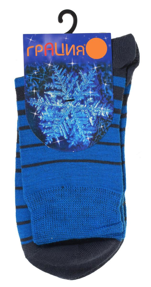 Носки женские Грация, цвет: темно-серый, синий. М 1101. Размер 2 (38/40)М 1101Теплые женские носки Грация, изготовленные из высококачественного комбинированного материала, очень мягкие и приятные на ощупь, позволяют коже дышать. Эластичная резинка плотно облегает ногу, не сдавливая ее, обеспечивая комфорт и удобство. Шерстяные носки со стандартным паголенком оформлены принтом в поперечную полоску .Удобные и комфортные носки великолепно подойдут к любой вашей обуви.