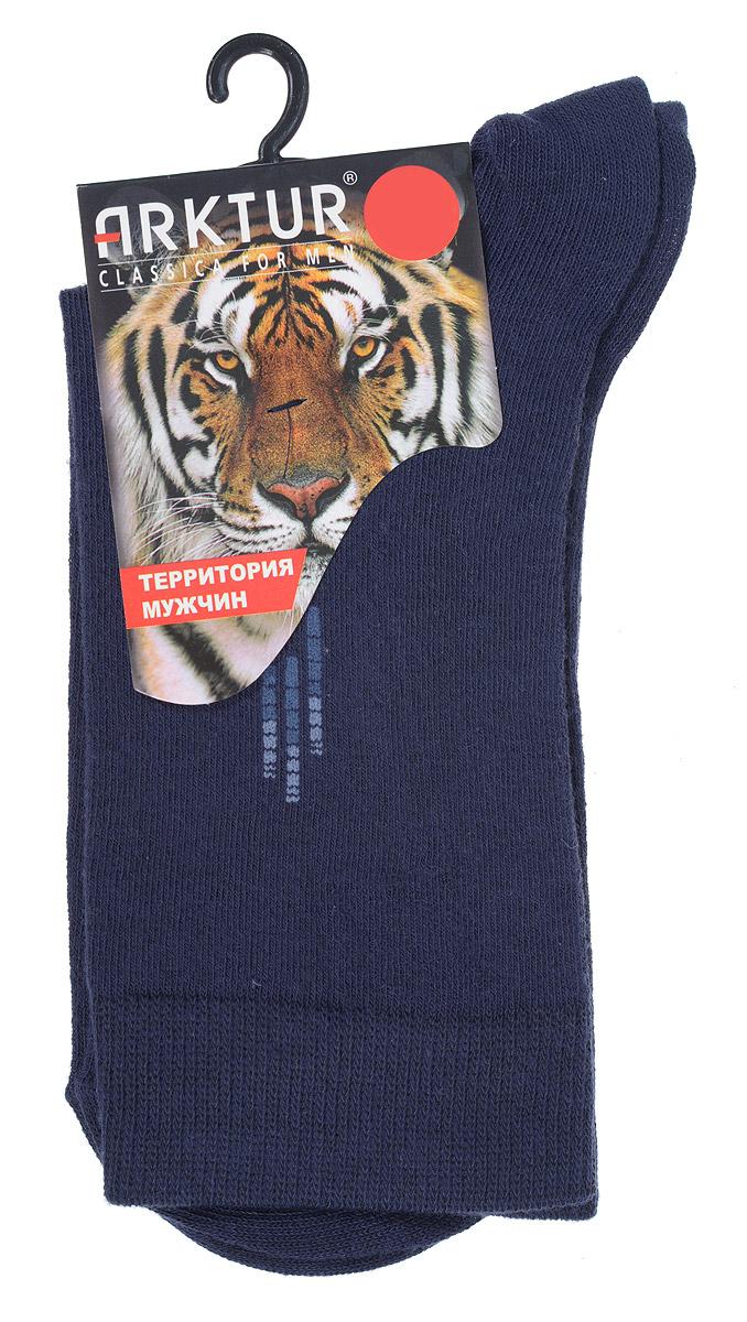 Носки мужские Arktur, цвет: темно-синий. J 008. Размер 43/45J 008Мужские носки Arktur с удлиненным паголенком изготовлены из хлопка с небольшим добавлением полиамида и лайкры. Комфортная широкая резинка пресс-контроль не сдавливает и комфортно облегает ногу. Идеальное сочетание практичности, легкости и комфорта.Удобные носки станут отличным дополнением к вашему гардеробу.
