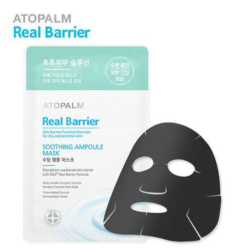 Atopalm Успокаивающая ампульная маска для лица, Real Barrier, 28 млMYL-УТ000001977Серия средств Real Barrier содержит комплекс компонентов, которые успокаивают, восстанавливают и защищают чувствительную и сухую кожу. Серия содержит арома-комплекс для облегчения стресса, которому подвержена чувствительная кожа: корень ветивера помогает избавиться от накопленного за день стресса, лаванда успокаивает и помогает расслабиться, масло апельсина обладает ярким насыщенным фруктовым запахом, который положительно влияет на повышение эмоционального уровня. Маска содержит древесный уголь, который эффективно абсорбирует загрязнения, смягчает и успокаивает чувствительную кожу. Средство обеспечивает длительное увлажнение, создавая защитный барьер, препятствующий потере влаги. Не содержит: парабены, минеральное масло, искусственные отдушки, искусственные красители, этанол, феноксиэтанол, бензофенон, пропилен гликоль, ПЭГ, диэтаноламин