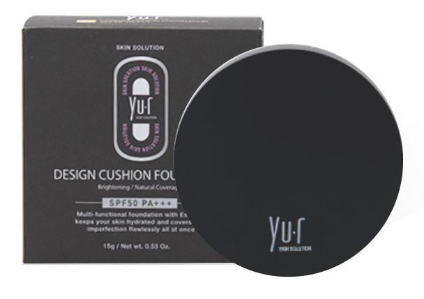 Yur Design Кушон SPF 50+ PA+++ (светлый) #21, Cushion Foundation, 15 г8809290717243Кушон является мультифункциональным средством, он одновременно скрывает недостатки кожи (воспаления, покраснения, неровный тон и текстура кожи) и обладает ухаживающими свойствами, увлажняет и успокаивает кожу. Благодаря наличию солнцезащитных фильтров средство обеспечивает надежную защиту от лучей типа А и В. Активные компоненты: Диоксид титана(8,5%), Этиглексил метоксициннамат (7,5%), Изоамил-пара-метоксициннамат (3%), Этилгексил салицилат (3%)