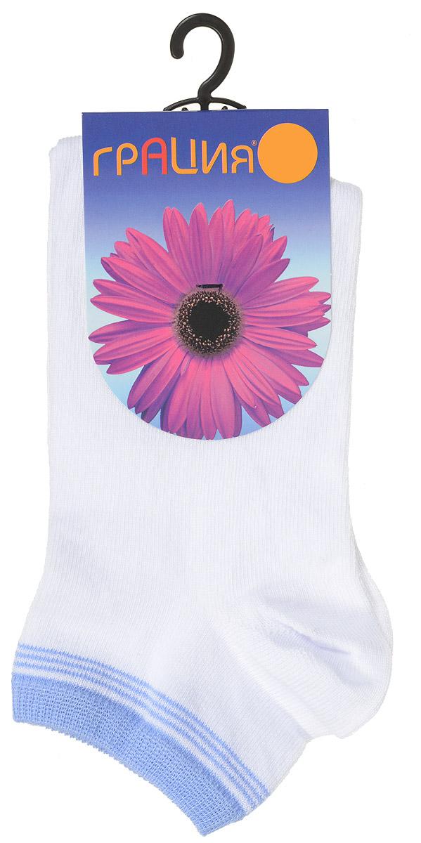 Носки женские Грация, цвет: белый, голубой. H 001. Размер 1 (35/37)H 001Удобные женские носки Грация, изготовленные из высококачественного комбинированного материала, очень мягкие и приятные на ощупь, позволяют коже дышать. Эластичная резинка плотно облегает ногу, не сдавливая ее, обеспечивая комфорт и удобство. Носки с укороченным паголенком оформлены полосками контрастного цвета в верхней части носка.Удобные и комфортные носки великолепно подойдут к любой вашей обуви.