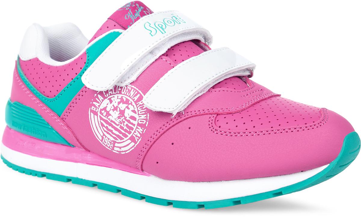 Кроссовки для девочки Kapika, цвет: фуксия, белый. 74176-3. Размер 39