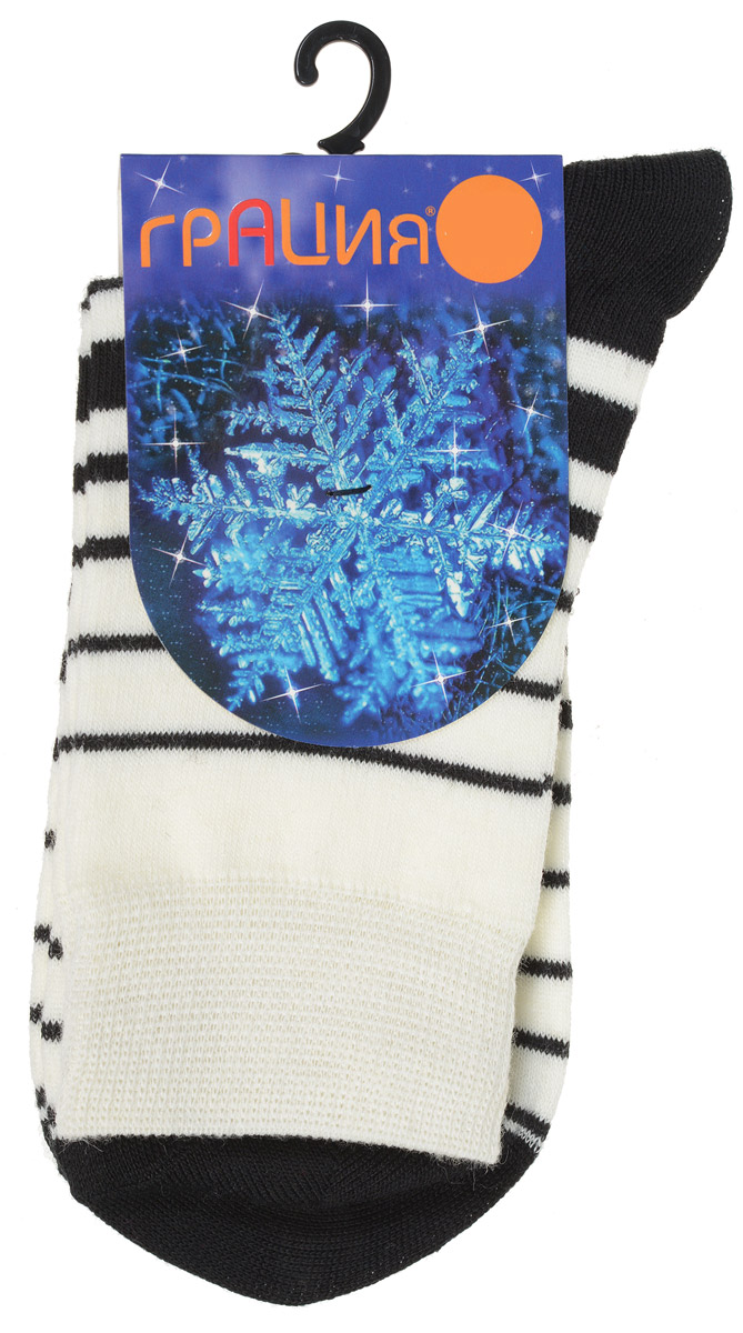 Носки женские Грация, цвет: черный, молочный. М 1101. Размер 1 (35/37)