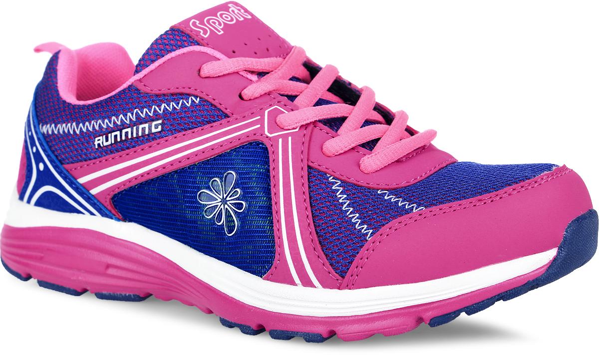 Кроссовки для девочки Kapika, цвет: розовый, фиолетовый. 74188-2. Размер 3974188-2Яркие кроссовки от Kapika заинтересуют вашу девочку с первого взгляда. Модель, выполненная из сетчатого текстиля, дополнена вставками из искусственной кожи. Язычок оформлен фирменной нашивкой с надписью Sport. На боковой части модель декорирована элементом в виде цветка.Изделие фиксируется на ноге с помощью шнурков. Внутренняя поверхность из текстиля обеспечивает комфорт и предотвращает натирание. Стелька из ЭВА материала с текстильной поверхностью дополнена супинатором, который обеспечивает максимальную устойчивость ноги при ходьбе, правильное формирование стопы, снижение общей утомляемости ног, отличную амортизацию, поглощение влаги и неприятных запахов. Ярлычок на заднике облегчает надевание модели. Облегченная подошва из ЭВА-материала улучшает амортизацию и поглощение ударов. Рифление на подошве гарантирует отличное сцепление с любой поверхностью. Вставки из ТЭП-материала на подошве повышают ее износостойкость.Удобные и оригинальные кроссовки займут достойное место в гардеробе вашего ребенка.