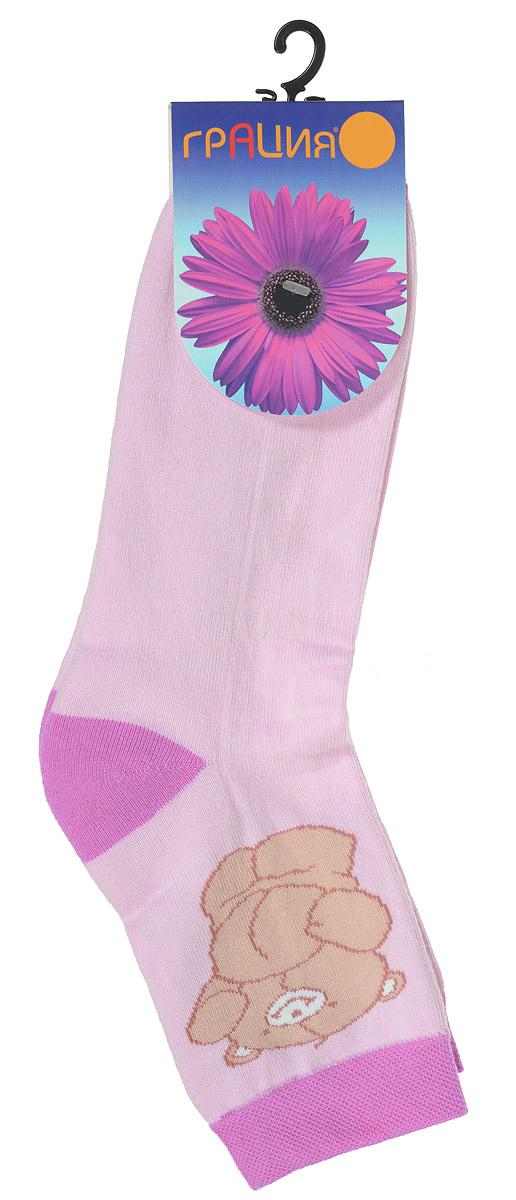 Носки женские Грация, цвет: светло-розовый. М 1083. Размер 1 (35/37)М 1083Женские теплые носки Грация, изготовленные из высококачественного комбинированного материала, очень мягкие и приятные на ощупь, позволяют коже дышать. Эластичная, резинка плотно облегает ногу, не сдавливая ее, обеспечивая комфорт и удобство. Нижняя часть носка выполнена из махры. Носки со стандартным паголенком, который оформлен рисунком забавного медвежонка.Удобные и комфортные носки великолепно подойдут к любой вашей обуви.