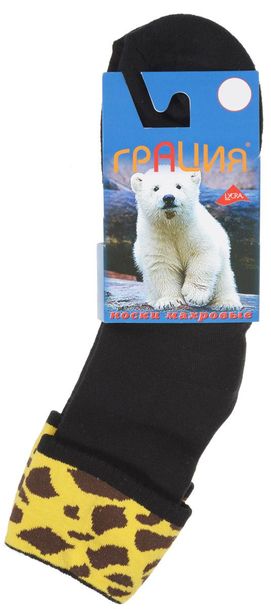 Носки женские Грация, цвет: черный, коричневый, желтый. М 1081. Размер 1 (35/37)М 1081Теплые женские носки Грация, изготовленные из высококачественного комбинированного материала, очень мягкие и приятные на ощупь, позволяют коже дышать. Эластичная резинка плотно облегает ногу, не сдавливая ее, обеспечивая комфорт и удобство. Махровые носки со стандартным паголенком, который оформлен небольшим отворотом с ярким принтом.Удобные и комфортные носки великолепно подойдут к любой вашей обуви.