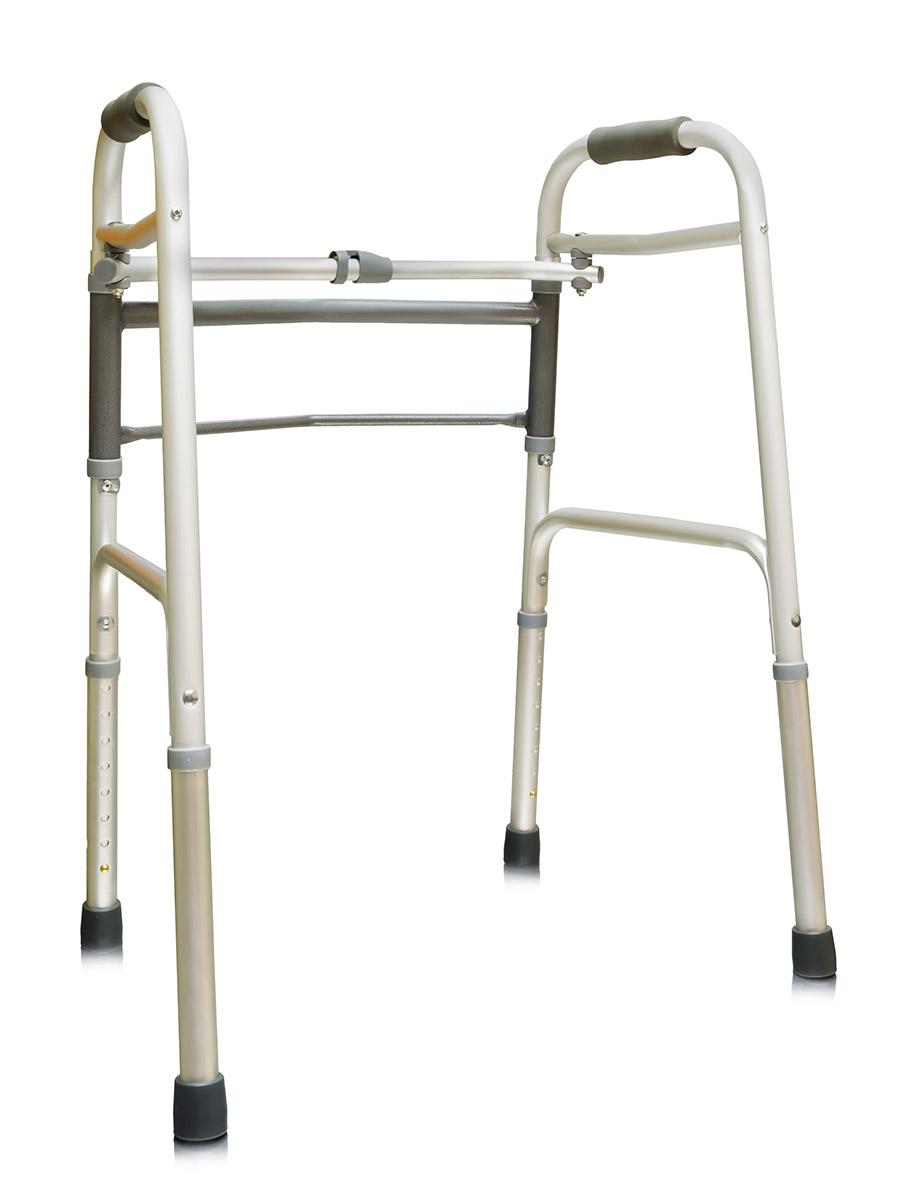 Amrus Прогулочная опора  ходунки подвижные ( шагающие ) с одним замком, с шарнирным механизмом, на 4-х опорах, без колес AMW1B77 - Вспомогательные средства передвижения