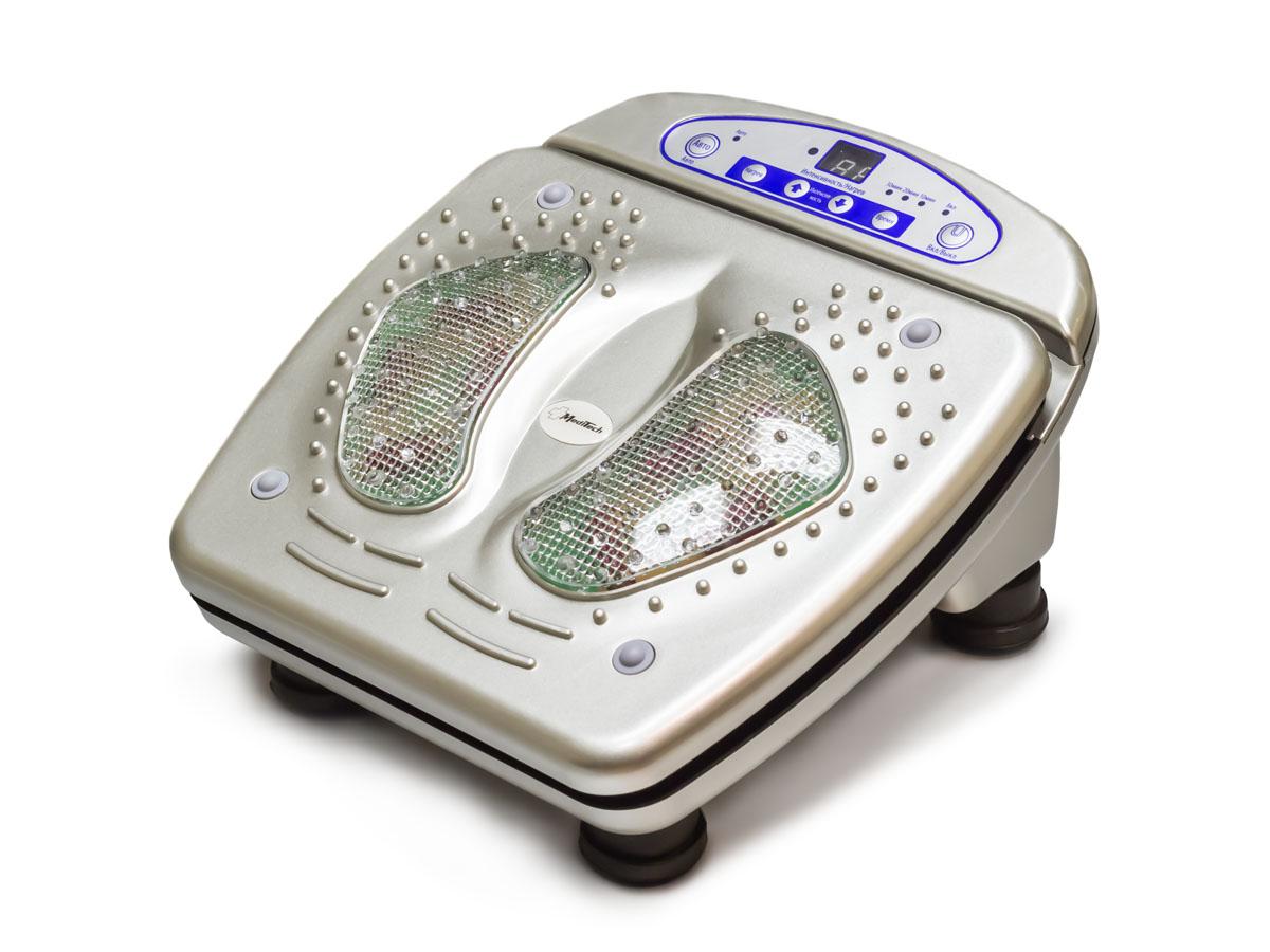 MediTech Аппарат массажный медицинский, ножной для массажа ступней ног, мышц спины и поясницы МК-828МК-828NewХарактеристики: 15 уровней интенсивности вибрации; 8 уровней инфракрасного нагрева; дистанционный пульт управления; Размеры 370?335?200 мм.; Источник электропитания - сеть переменного тока (220В/50Гц); Потребляемая мощность не более 45 Вт.; Условия защиты пациента и медицинского персонала от поражения электрическим током II класса типа В;Гарантия 1 год.Комплект поставки: массажер; дистанционный пульт; элемент питания для дистанционного пульта; руководство пользователя.Массажер глубоко воздействует на мышцы и акупунктуру стоп, стимулируя циркуляцию крови, что помогает ускорить процесс лечения, уменьшает боль, расслабляет мышцы и увеличивает подвижность суставов.