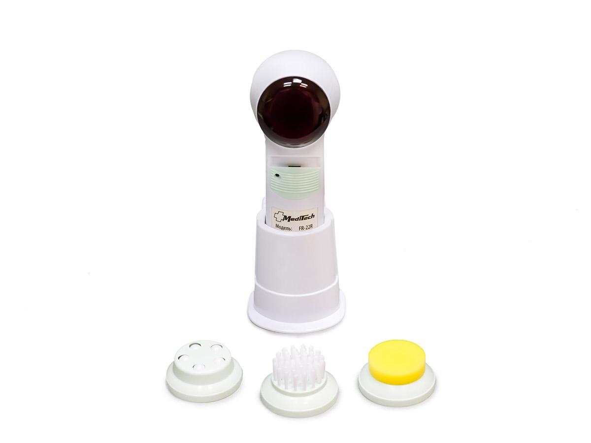 MediTech Портативный массажер для лица с инфракрасным прогревом и 3 сменными насадками (комплектуется зарядным устройством) FR-22RFR-22RХарактеристики: 3 сменные насадки: щетка для очистки кожи лица, массажная насадка для стимуляции мышц, губковый аппликатор для применения с кремом или лосьоном;2 режима работы; Источник электропитания - аккумуляторная батарея; Потребляемая мощность 1 Вт.; Условия защиты пациента и медицинского персонала от поражения электрическим током II класса типа В;