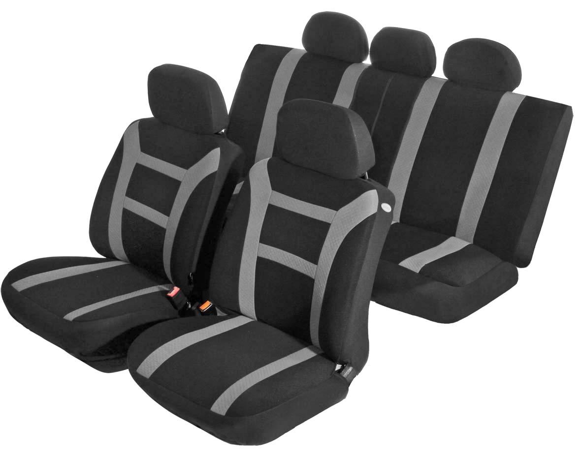 Чехол на автомобильное кресло универсальный Azard Pride, 11 предметов, карман, 6 молний, цвет: серыйAV011161Универсальные чехлы из мягкого велюра с вставками из формованного велюра. Применимы для 95% легкового автопарка РФ.Благодаря особому крою типа «В» чехлы идеально облегают сидения автомобиля. Специальный боковой шов позволяет применять авто чехлы в автомобилях с боковыми подушками безопасности (AIR BAG).Раздельная схема надевания обеспечивает легкую установку авто чехлов. Дополнительное удобство создает наличие предустановленных крючков, утягивающего шнура, фиксирующей липучки на передних спинках, а также предустановленной прорези для установки подголовника.Материал триплирован огнеупорным поролоном 3 мм, за счет чего чехол приобретает дополнительную мягкость и устойчивость к возгоранию.Авточехлы AZARD Велюр Pride износоустойчивы и легко стирается в стиральной машине.