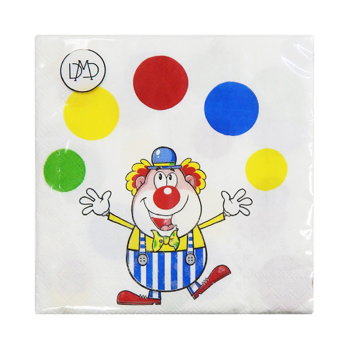 Бумажные салфетки DMD Клоун, 33 х 33 см, три слоя, 20 шт15466Бумажные трехслойные салфетки DMD Клоун для бытового и санитарно-гигиенического назначения одноразового использования.