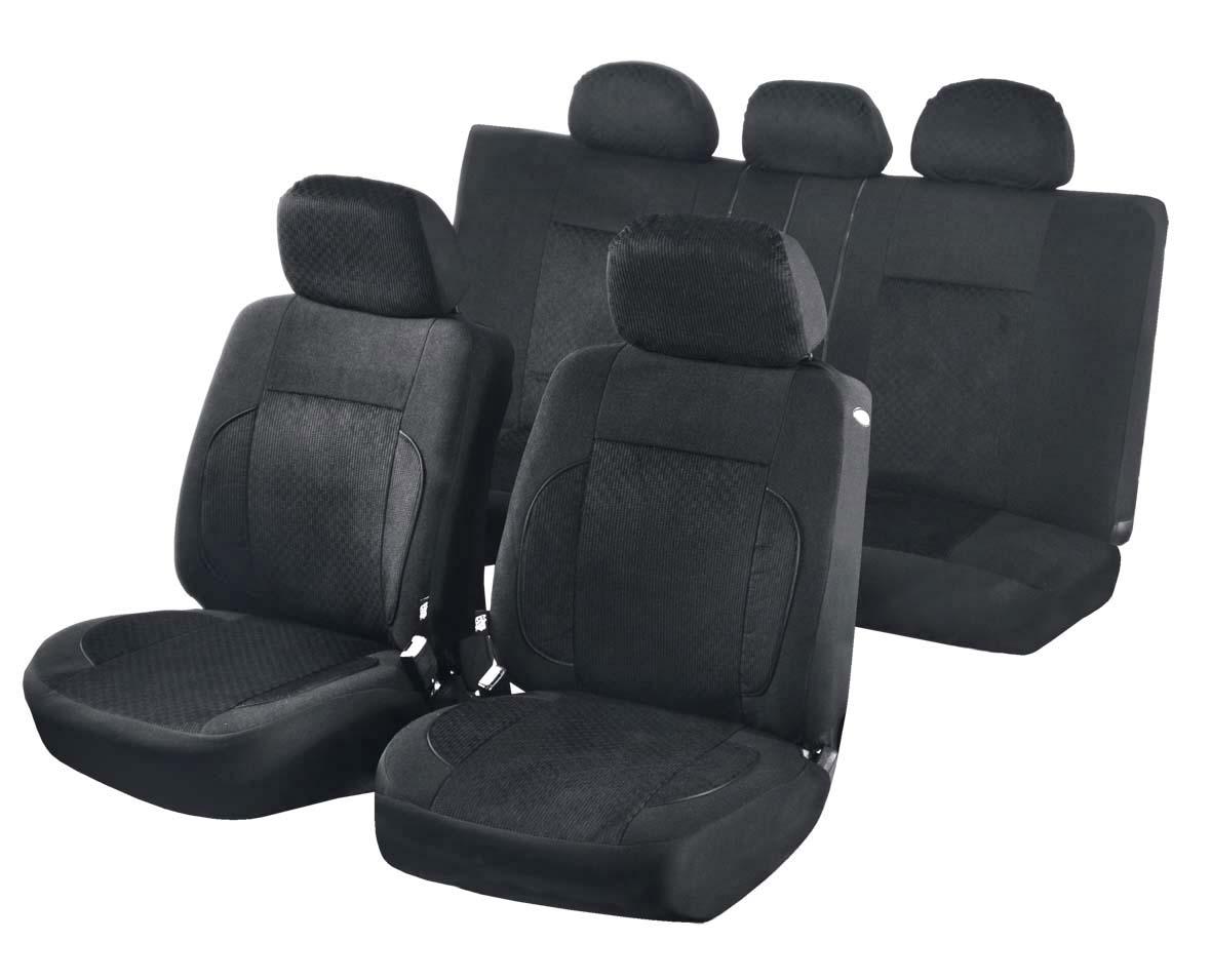 Чехлы для сидений Azard Pilot, универсальные, 11 предметов, цвет: черныйAV051161Универсальные чехлы из уникального автомобильного велюра. Применимы для 95% легкового автопарка РФ.Благодаря особому крою типа В чехлы идеально облегают сидения автомобиля. Специальный боковой шов позволяет применять авто чехлы в автомобилях с боковыми подушками безопасности (AIR BAG).Раздельная схема надевания обеспечивает легкую установку авто чехлов. Дополнительное удобство создает наличие предустановленных крючков, утягивающего шнура, фиксирующей липучки на передних спинках, а также предустановленной прорези для установки подголовника.Материал триплирован огнеупорным поролоном 3 мм, за счет чего чехол приобретает дополнительную мягкость и устойчивость к возгоранию.Авточехлы AZARD Велюр Pilot износоустойчивы и легко стирается в стиральной машине.