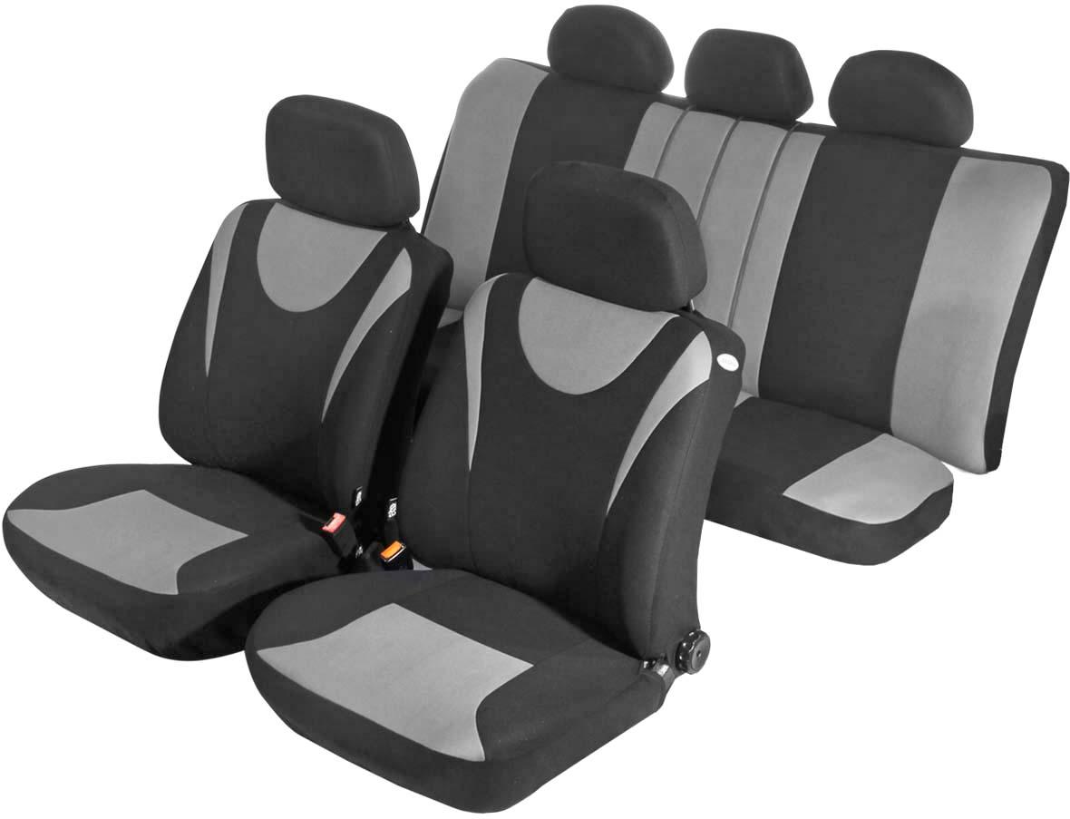 Чехол на сиденье универсальный Azard Hunter, цвет: серый, черный, 11 предметовAP021131Универсальные чехлы Azard Hunter, изготовленные из плотного полиэстера, применимы для 95% легкового автопарка РФ.Благодаря особому крою типа «В» чехлы идеально облегают сидения автомобиля. Специальный боковой шов позволяет применять авто чехлы в автомобилях с боковыми подушками безопасности (AIR BAG).Раздельная схема надевания обеспечивает легкую установку авто чехлов. Дополнительное удобство создает наличие предустановленных крючков, утягивающего шнура, фиксирующей липучки на передних спинках, а также предустановленной прорези для установки подголовника. Материал триплирован огнеупорным поролоном 3 мм, за счет чего чехол приобретает дополнительную мягкость и устойчивость к возгоранию.Авточехлы Azard Hunter износоустойчивы и легко стирается в стиральной машине.