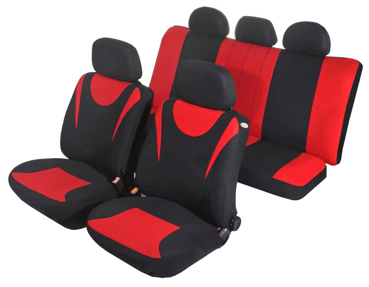 Чехол на сиденье универсальный Azard Hunter, цвет: красный, черный, 11 предметовAP021134Универсальные чехлы Azard Hunter, изготовленные из плотного полиэстера, применимы для 95% легкового автопарка РФ.Благодаря особому крою типа «В» чехлы идеально облегают сидения автомобиля. Специальный боковой шов позволяет применять авто чехлы в автомобилях с боковыми подушками безопасности (AIR BAG).Раздельная схема надевания обеспечивает легкую установку авто чехлов. Дополнительное удобство создает наличие предустановленных крючков, утягивающего шнура, фиксирующей липучки на передних спинках, а также предустановленной прорези для установки подголовника. Материал триплирован огнеупорным поролоном 3 мм, за счет чего чехол приобретает дополнительную мягкость и устойчивость к возгоранию.Авточехлы Azard Hunter износоустойчивы и легко стирается в стиральной машине.