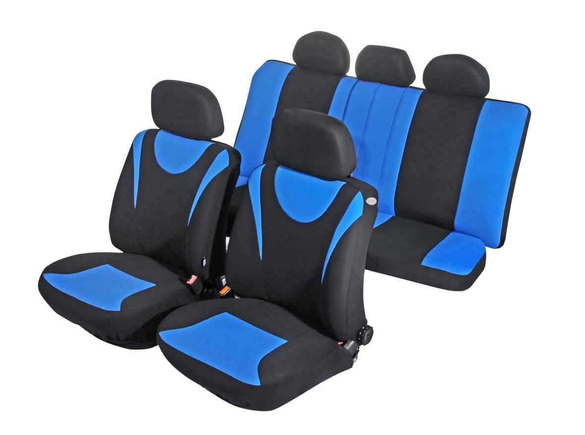 Чехол на автомобильное кресло универсальный Azard Hunter, 11 предметов, карман, 3 молнии, цвет: синийAP021133Универсальные чехлы из плотного полиэстера. Применимы для 95% легкового автопарка РФ.Благодаря особому крою типа «В» чехлы идеально облегают сидения автомобиля. Специальный боковой шов позволяет применять авто чехлы в автомобилях с боковыми подушками безопасности (AIR BAG).Раздельная схема надевания обеспечивает легкую установку авто чехлов. Дополнительное удобство создает наличие предустановленных крючков, утягивающего шнура, фиксирующей липучки на передних спинках, а также предустановленной прорези для установки подголовника.Материал триплирован огнеупорным поролоном 3 мм, за счет чего чехол приобретает дополнительную мягкость и устойчивость к возгоранию.Авточехлы Azard Полиэстер Hunter износоустойчивы и легко стирается в стиральной машине.