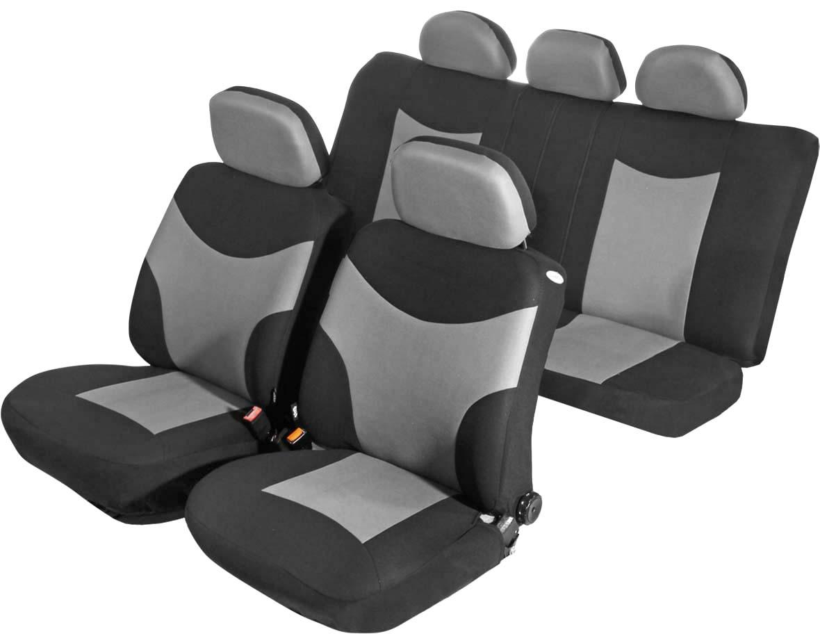 Чехол на сиденье универсальный Azard Runner, цвет: серый, черный, 11 предметовAP031131Универсальные чехлы Azard Runner, изготовленные из плотного полиэстера, применимы для 95% легкового автопарка РФ.Благодаря особому крою типа «В» чехлы идеально облегают сидения автомобиля. Специальный боковой шов позволяет применять авто чехлы в автомобилях с боковыми подушками безопасности (AIR BAG).Раздельная схема надевания обеспечивает легкую установку авто чехлов. Дополнительное удобство создает наличие предустановленных крючков, утягивающего шнура, фиксирующей липучки на передних спинках, а также предустановленной прорези для установки подголовника. Материал триплирован огнеупорным поролоном 3 мм, за счет чего чехол приобретает дополнительную мягкость и устойчивость к возгоранию.Авточехлы Azard Runner износоустойчивы и легко стирается в стиральной машине.