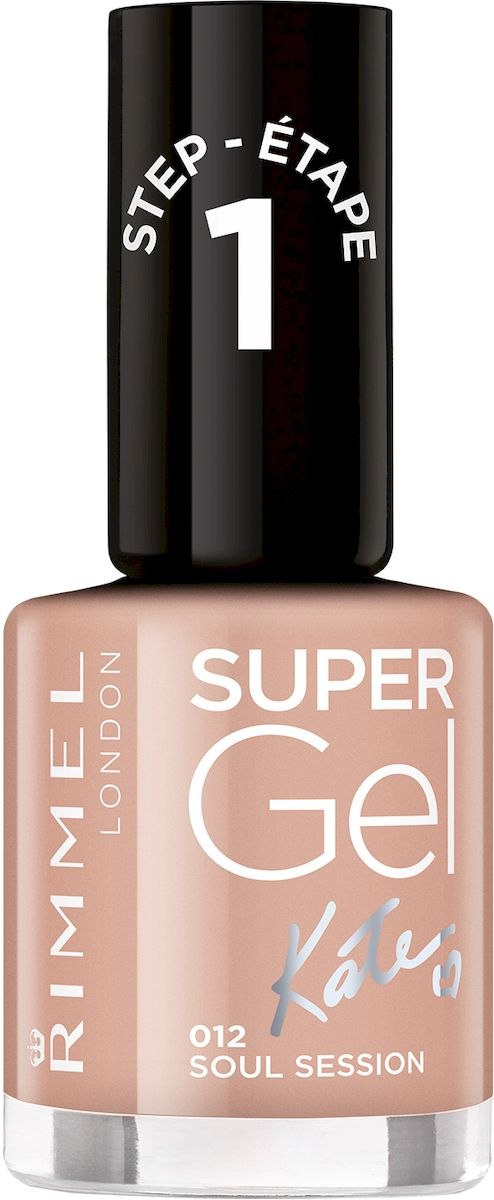 Rimmel Super Gel Kate nail polish Гель-лак для ногтей, тон 012 темный нюд, 12 мл гель лак для ногтей rimmel super gel nail polish