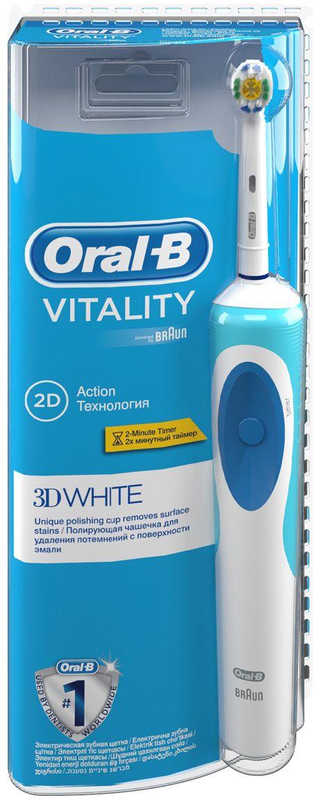 Oral-B Vitality 3D White электрическая зубная щетка80275163Лучшее удаление зубного налета*по сравнению с обычной зубной щеткой. - Клинически доказано, что электрическая зубная щетка Oral-B Vitality превосходно чистит зубы по сравнению с мануальной зубной щеткой.- Профессионально разработанный дизайн головки 3DWhite с полирующей чашечкой в центре щеточного поля предназначен для эффективного удаления пигментированного зубного налета (зубная паста дольше задерживается на полирующей чашечке, эффективнее удаляя потемнения на эмали).- Щетка имеет 2D-технологию чистки: возвратно-вращательные движения лучше удаляют зубной налет, чем мануальная зубная щетка. Удобный таймер помогает чистить зубы рекомендованные стоматологом 2 минуты. - Основанный в 1950 году в Калифорнии, бренд Oral-B предоставляет превосходные продукты для ухода за полостью рта. Совместно с Braun Oral-B производит в Германии электрические зубные щетки на протяжении более 50 лет, постоянно совершенствуя свои технологии. Oral-B – марка зубных щеток №1, рекомендуемая большинством стоматологов мира!* (* по данным исследования, проведенного в 2011-2012 году агентством Attitude Measurement Corporation среди репрезентативной выборки стоматологов. ) - Основная задача зубной щетки - бережное и эффективное очищение зубов каждый день. Именно поэтому технология 2D Cleaning Action с возвратно-вращательными движениями удаляет налет лучше, чем обычная зубная щетка, а закругленные кончики щетинок обеспечивают безопасность применения.Комплектация: электрическая аккумуляторная зубная щетка (1 шт.), насадка для щетки 3D White (1 шт.), зарядное устройство (1 шт). - Голубые щетинки Indicator обеспечиются наполовину, сигнализируя о необходимости замены насадки (чтобы постоянно получать превосходный результат, менять насадку рекомендуется в среднем раз в 3 месяца).Подходит для детей с 3-х лет.Перейдите на новый уровень чистки за 2 минуты!Электрические зубные щетки. Статья OZON Гид