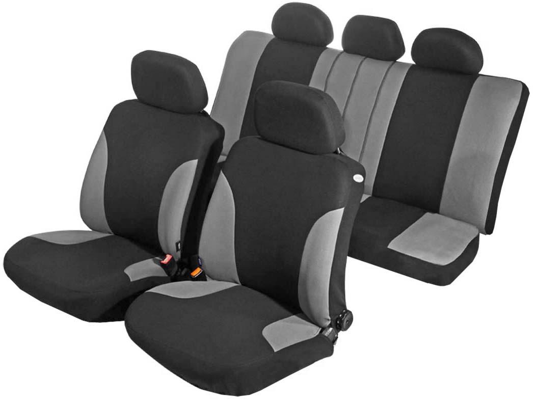 Чехол на сиденье универсальный Azard Favorit, цвет: серый, черный, 11 предметовAP011131Универсальные чехлы Azard Favorit, изготовленные из плотного полиэстера, применимы для 95% легкового автопарка РФ.Благодаря особому крою типа «В» чехлы идеально облегают сидения автомобиля. Специальный боковой шов позволяет применять авто чехлы в автомобилях с боковыми подушками безопасности (AIR BAG).Раздельная схема надевания обеспечивает легкую установку авто чехлов. Дополнительное удобство создает наличие предустановленных крючков, утягивающего шнура, фиксирующей липучки на передних спинках, а также предустановленной прорези для установки подголовника. Материал триплирован огнеупорным поролоном 3 мм, за счет чего чехол приобретает дополнительную мягкость и устойчивость к возгоранию.Авточехлы Azard Favorit износоустойчивы и легко стирается в стиральной машине.