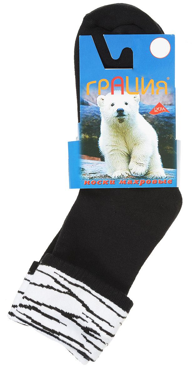 Носки женские Грация, цвет: черный, белый. М 1081. Размер 2 (38/40)М 1081Теплые женские носки Грация, изготовленные из высококачественного комбинированного материала, очень мягкие и приятные на ощупь, позволяют коже дышать. Эластичная резинка плотно облегает ногу, не сдавливая ее, обеспечивая комфорт и удобство. Махровые носки со стандартным паголенком, который оформлен небольшим отворотом с ярким принтом.Удобные и комфортные носки великолепно подойдут к любой вашей обуви.